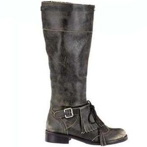 Matisse   Black Leather Distressed Moto Boots 5.5